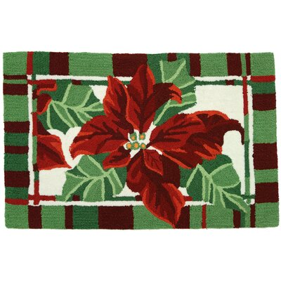 Homefires Painted Poinsettias Red/Green Area Rug
