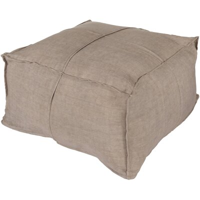 Solid Linen Pouf Ottoman by Surya