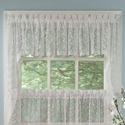 Priscilla Lace Swag Curtain Valance (Set of 2) Product Photo