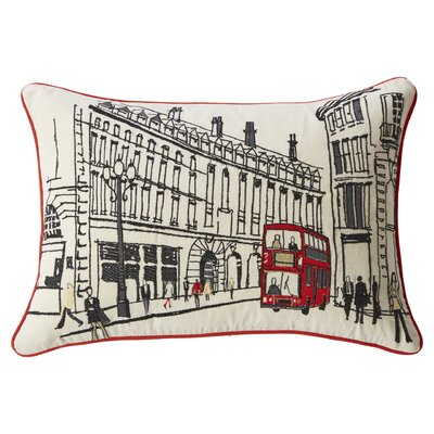 Embroidered London edLumbar Pillow by Mercury Row