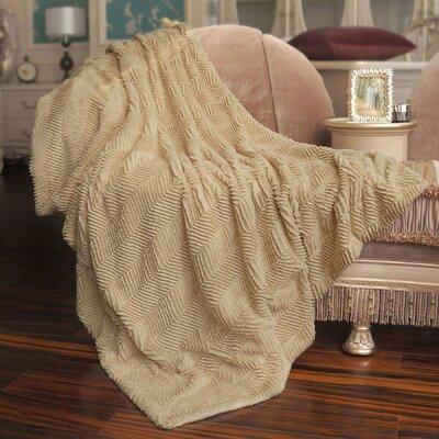 Herringbone Faux Fur Throw Blanket by BNF Home