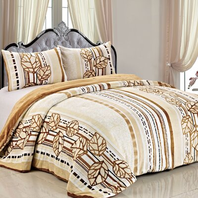 Double Flannel 3 Piece Leaves Blanket Set by BNF Home