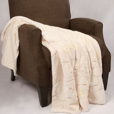 Embroidered Faux Fur Throw by BNF Home