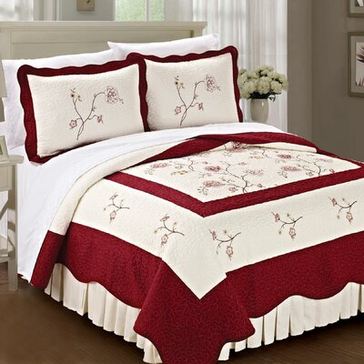 Spring Flowers Quilted 3 Piece Bedspread Set by BNF Home