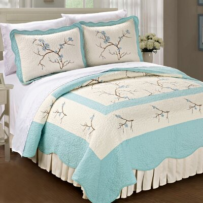 Cherry Blossom Quilted 3 Piece Bedspread Set by BNF Home