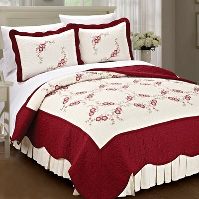Chrysanthemum Quilted 3 Piece Bedspread Set by BNF Home