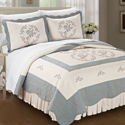 Roses Quilted 3 Piece Bedspread Set by BNF Home