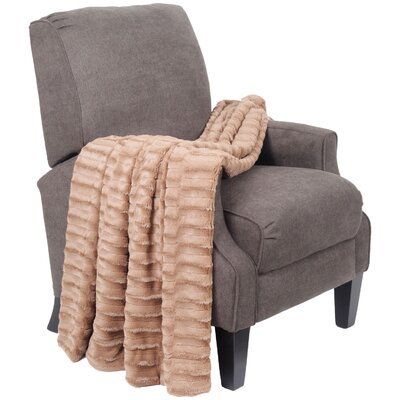 Saga Double Sided Faux Fur Throw Blanket by BNF Home