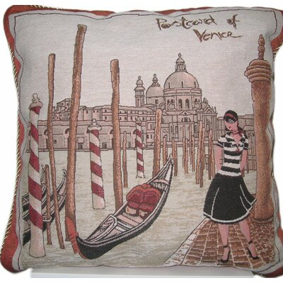 Postcard of Venice Cotton Throw Pillow by DaDa Bedding