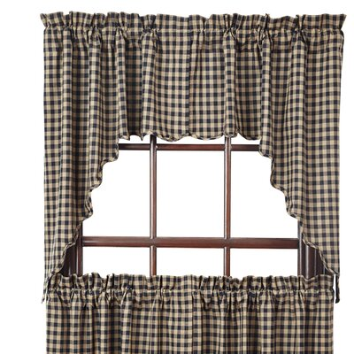 Check Scalloped Swag Curtain Valance (Set of 2) Product Photo