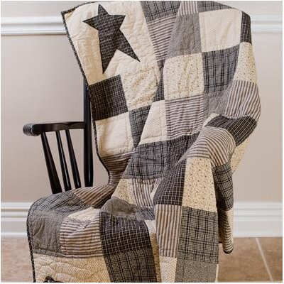 Kettle Grove Crow and Star Cotton Throw by VHC Brands