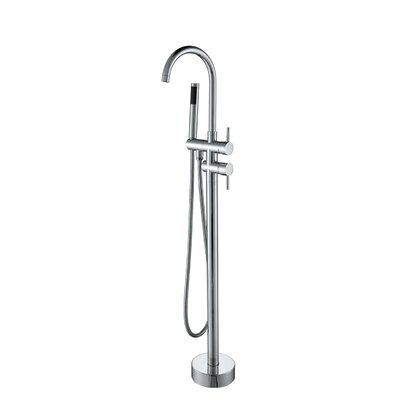 Single Handle Floor Mount Tub Filler with Hand Shower Product Photo