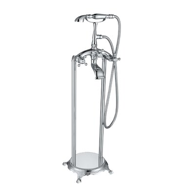 Triple Handle Floor Mount Tub Filler with Hand Shower Product Photo