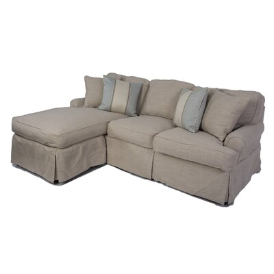 Horizon sleeper sofa and chaise slipcover wayfair for Chaise cushion slipcover