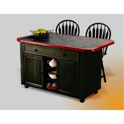 Kitchen Island with Ceramic Tile Top and Stools Product Photo