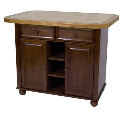Nutmeg Kitchen Island with Wood Top Product Photo
