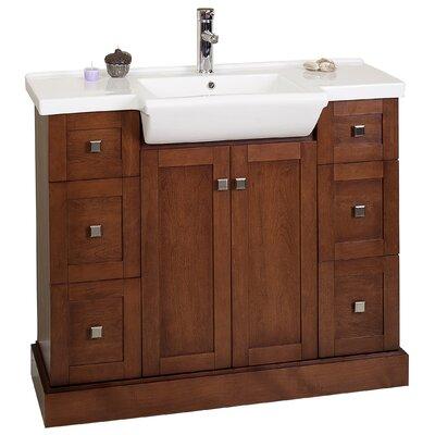 "40"" Single Modern Birchwood-Veneer Bathroom Vanity Set Product Photo"