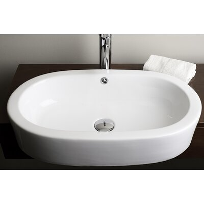 Semi Recessed Vessel Sink : Semi-Recessed Oval Vessel Bathroom Sink by American Imaginations