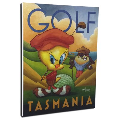 Chuck Jones 'Golf Tasmania' by Mike Kungl Painting Print on Wrapped Canvas by Lord Mischief ...