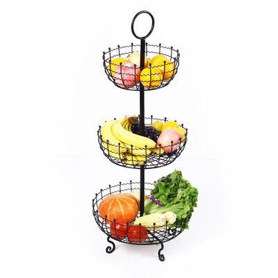 3 Tier Iron Table Counter Top Fruit and Vegetable Basket by AdecoTrading