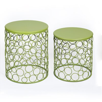 2 Pieces Home Garden Accent Wire Round Stool by AdecoTrading