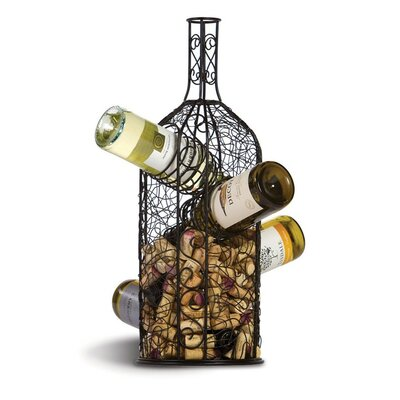 4 Bottle Wine Rack and Cork Collector by Picnic Plus by Spectrum