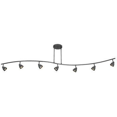 Serpentine 7 Light Track Light with Swirl Glass Product Photo