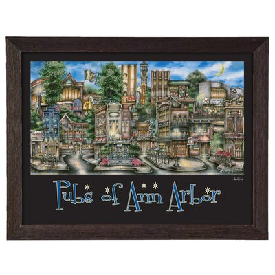 'Ann Arbor, MI' by Brian McKelvey Frame Poster Painting Print by PubsOf