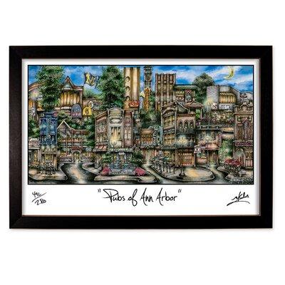 'Ann Arbor, MI' by Brian McKelvey Frame Painting Print by PubsOf