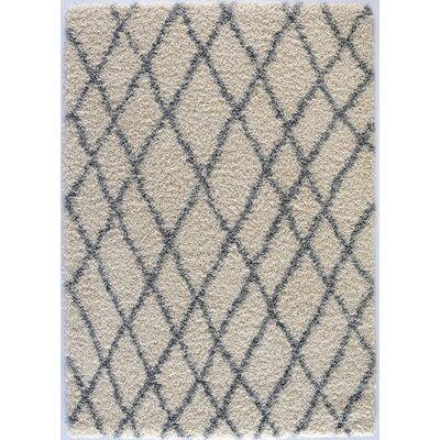 Design Era Cream/Grey Modern Moroccan Trellis Shaggy Area Rug by Diagona Designs