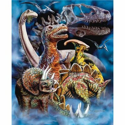 Signature Dinosaur Mink Blanket by Crover