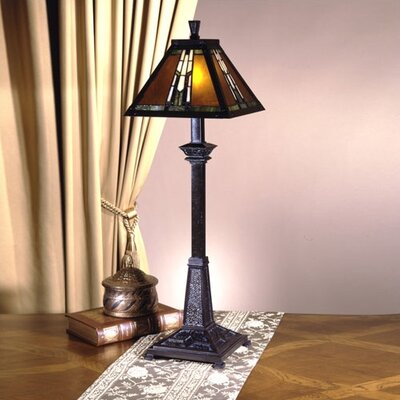 "Dale Tiffany Amber Monarch Buffet 30"" H Table Lamp with Empire Shade"