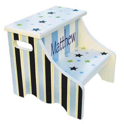 1-Step Personalized Star and Stripes Step Stool by Renditions by Reesa