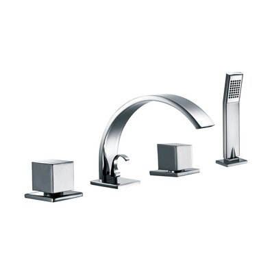 Double Handle Deck Mount Tub Filler Trim with Personal Hand Shower and Sheet Flow Spout Product Photo