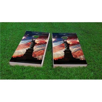 American Flag, Fireworks and Lady Liberty Cornhole Game Set by Custom Cornhole Boards