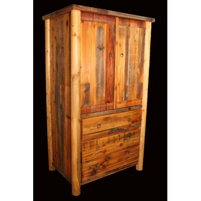 Barnwood 3 Drawer Armoire with Round Legs Product Photo