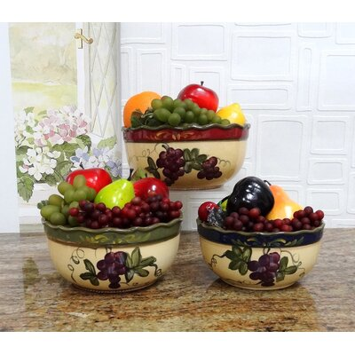 Colorful Grapes 3 Piece Mixing Bowl Set by A.C.K. Trading Co.