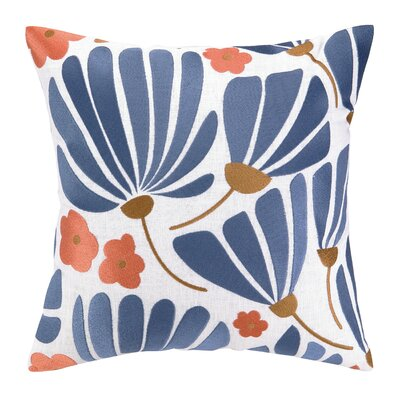 Breezy Floral Embroidered Throw Pillow by Elizabeth Olwen