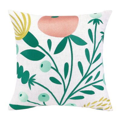 Whimsy Blooms Embroidered Throw Pillow by Elizabeth Olwen