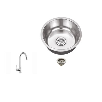 "17.13"" X 17.13"" 18 Gauge Stainless Steel Single Bowl Round Bar Sink Product Photo"