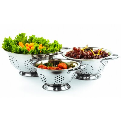 3 Piece Durable Deep Stainless Steel Deep Colander Set by Imperial Home