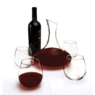 Twilight 5 Piece 64 oz. Decanter and 16 oz Stemless Wine Glass Set by Circle ...