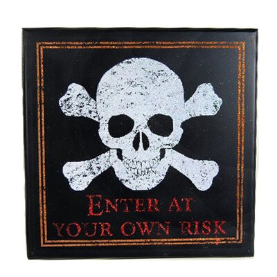 Decorative Halloween Plaque with Skull Head by SheasWildflowers