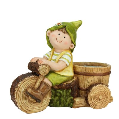 Young Boy Gnome Riding Tree Bicycle with Flower Pot Garden Statue by NorthlightSeasonal