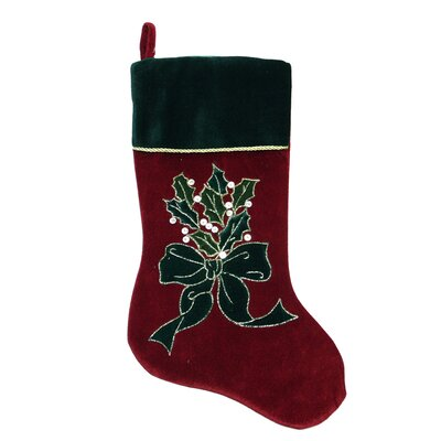 Velveteen Christmas Stocking with Bow and Holly Berry by NorthlightSeasonal