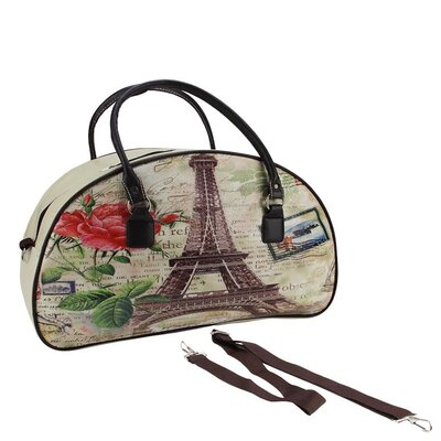 Vintage Eiffel Tower Travel Bag with Handles and Shoulder Strap by NorthlightSeasonal