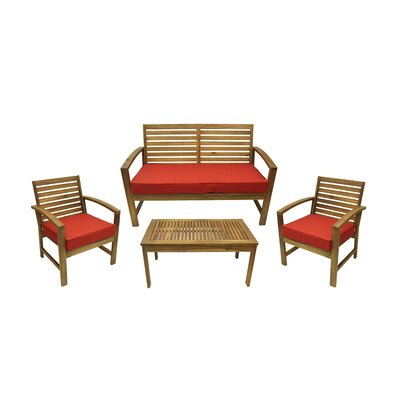 4 Piece Outdoor Patio Table and Chair Furniture Set with Cushions by NorthlightSeasonal