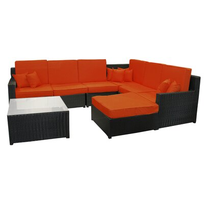 8 Piece Resin Wicker Outdoor Furniture Sectional Sofa Table and Ottoman Set by NorthlightSeasonal