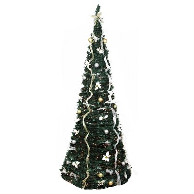 9' Decorated Silver and Gold Artificial Christmas Tree with Clear Light by NorthlightSeasonal