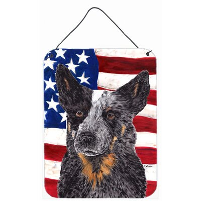 USA American Flag with Australian Cattle Dog Hanging Painting Print Plaque by Caroline's Treasures